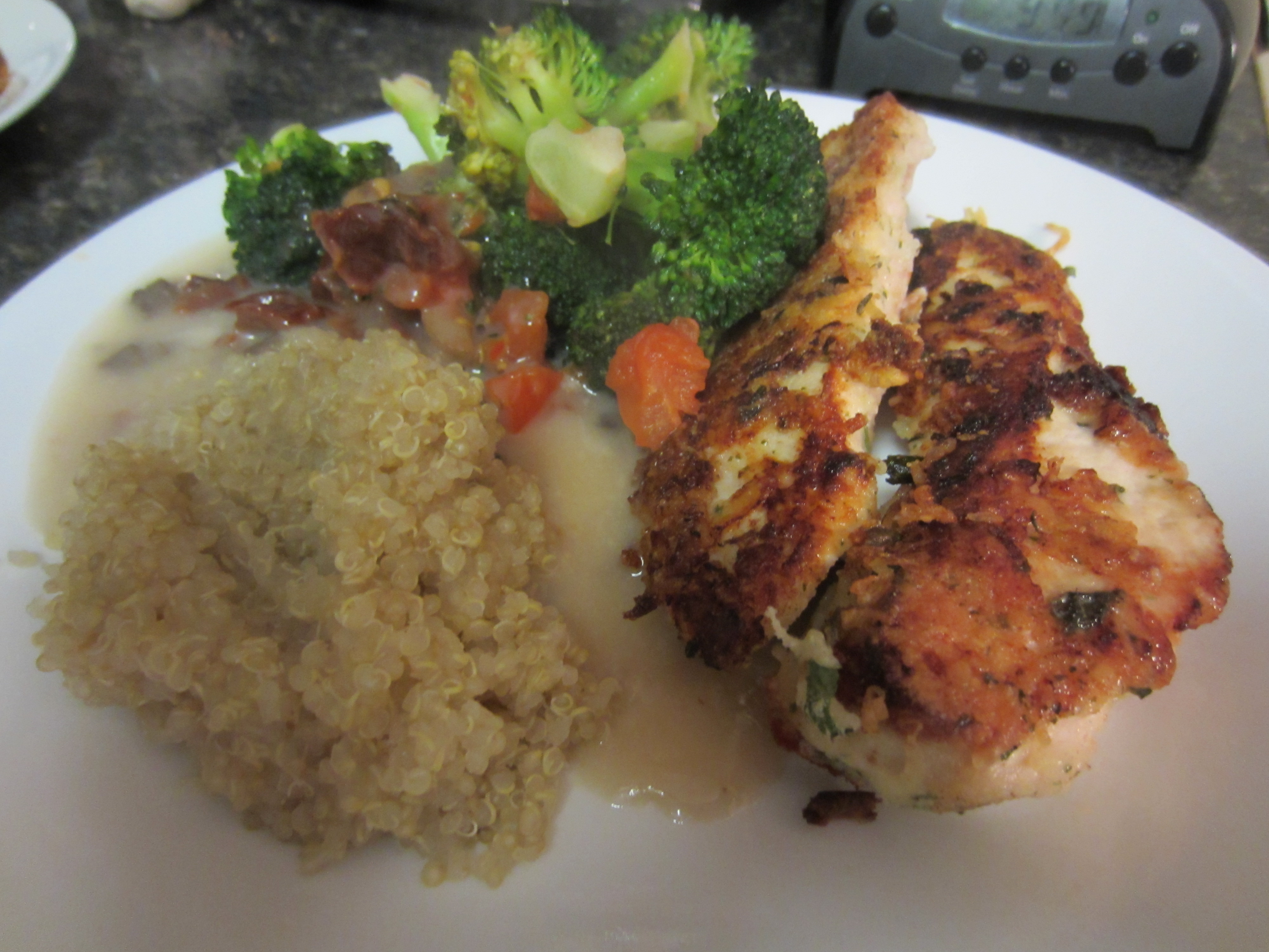 Parmesan Crusted Chicken with Quinoa and Vegetables - Sweetphi
